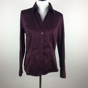 Ann Taylor Button Front Cotton Shirt Burgundy